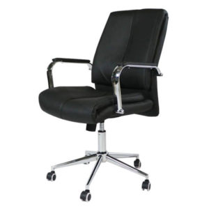 Sillón Semi-Ejecutivo en Leather, Negro - RT-728